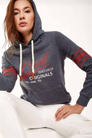 Mad Girls Antrasit Kapüşonlu Sweat MG149