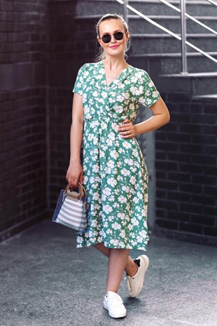Mad Girls Green V-neck Floral Dress MG501