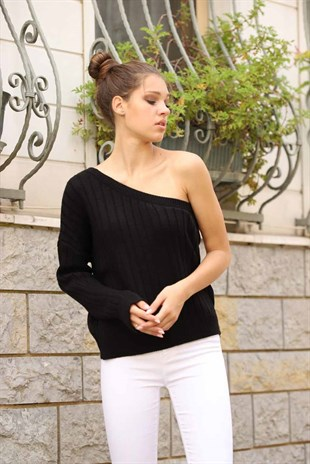 Mad Girls Black One Shoulder Ribbed Knitwear MG074