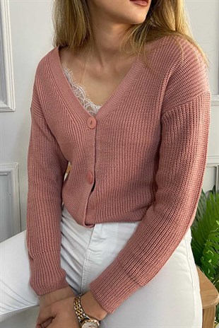 Mad Girls Dusty Rose Buttoned Women Cardigan MG787