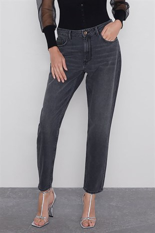 Mad Girls Mom Fit Siyah Jean DSP320