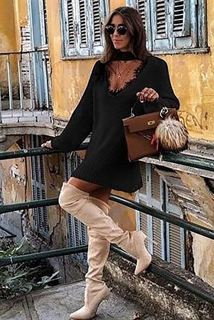Mad Girls Black V-neck Lace Detailed Knitwear Dress MG023