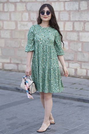 Mad Girls Green Block Dress MG345