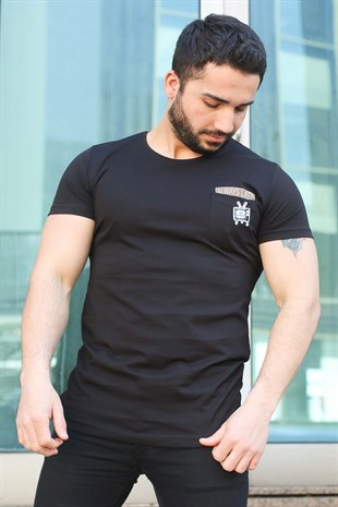 Madmext Black T-shirt for Men 3025