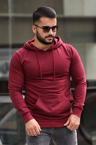 Madmext Basic Bordo Kapşonlu Sweatshirt 4117