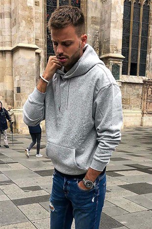 Madmext Grey Basic Hoodie 4396