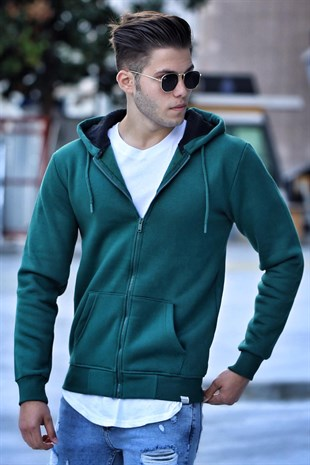 Madmext Green Zipper Detailed Hoodie 4174