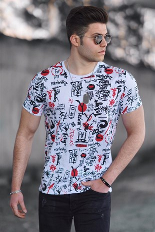 Madmext White Printed T-shirt for Men 4626