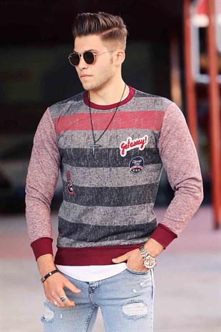 Madmext Baskılı Bordo Sweatshirt 1691