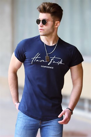 Madmext Navy Blue Printed T-shirt for Men  4481