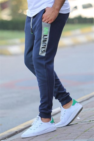 Madmext Navy Blue Pocket Printed Sweatpants 4214