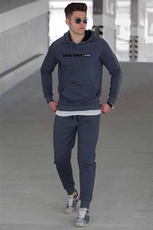 Madmext Navy Blue Printed Tracksuit 44334228