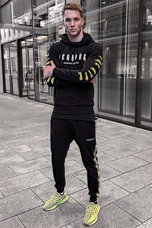 Madmext Black Printed Tracksuit 4398