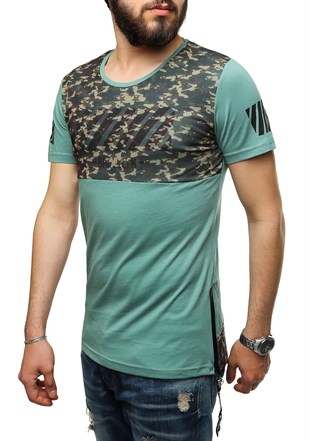Madmext Printed Green T-Shirt 2611