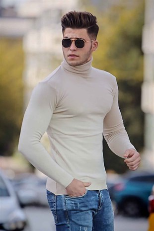 Madmext Beige Turtleneck Jumper Mad01
