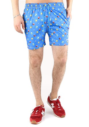 Madmext Blue Patterned Swim Wear Short  2364