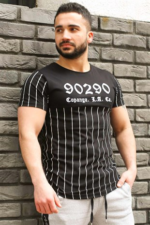 Madmext Black Striped T-shirt for Men 2863