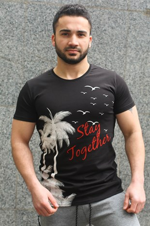 Madmext Black Printed T-shirt for Men 3026