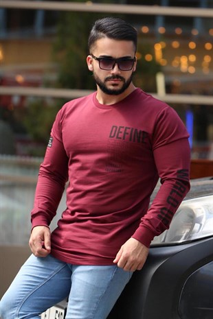 Madmext Bordo Baskılı Sweatshirt 4133
