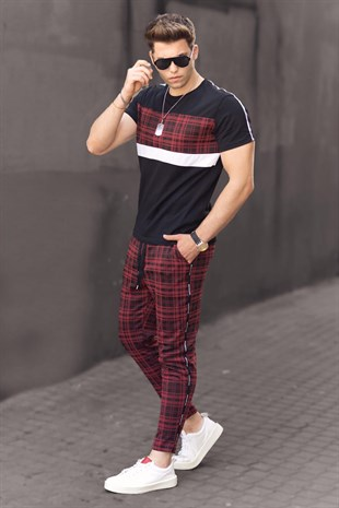 Madmext Claret Red Striped Tracksuit 48154652-2