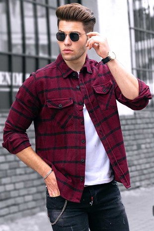 Madmext Claret Red Checkered Men Shirt 9404