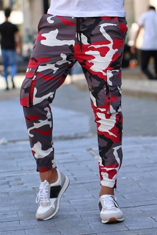 Madmext Claret Red Camouflage Trousers 4085