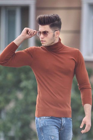 Madmext Camel Turtleneck Jumper Mad01