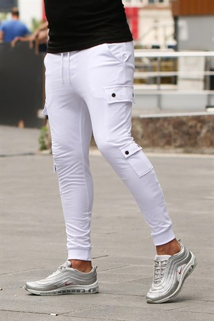 Mens Sweatpants With Pocket Details In White