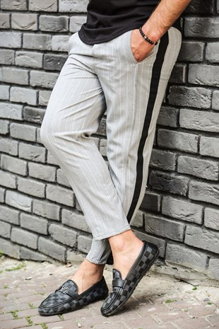 Madmext Grey Striped Trousers 4070