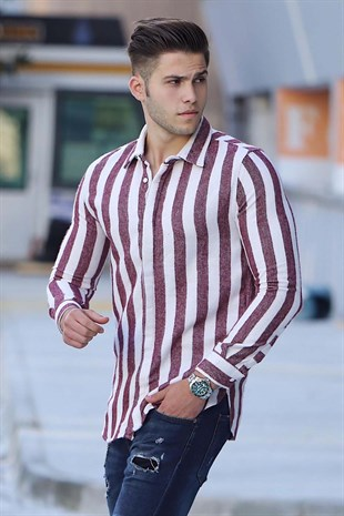 Madmext Çizgili Slim Fit Bordo Gömlek Mad05