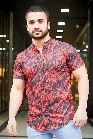 Madmext Red Patterned Slim Fit Short-sleeved Shirt  GML420-3