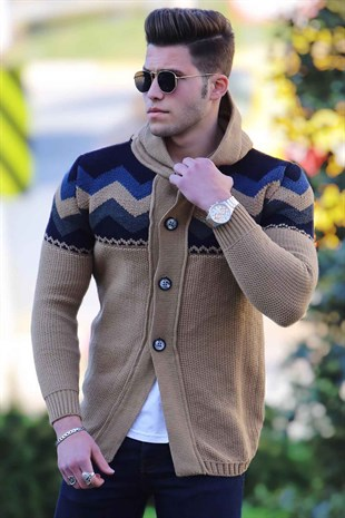 Madmext Camel Button Up Cardigan with Hooded 00782000