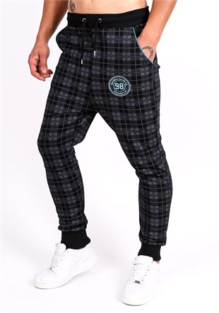 Madmext Checkered Black Joggers 1136