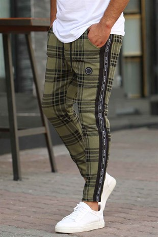 Madmext Khaki Checked Sweatpants 4203