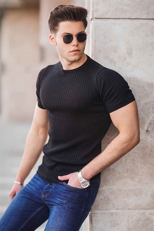 Madmext Black Knitwear With Roll Neck T-shirt  4603