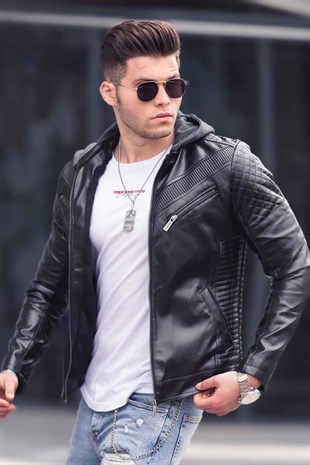 Madmext Black Leather Hooded Jacket 9102