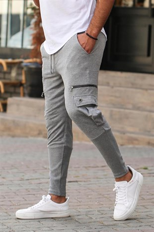 Mens Sweatpants With Zipper Pocket İn Grey 2937