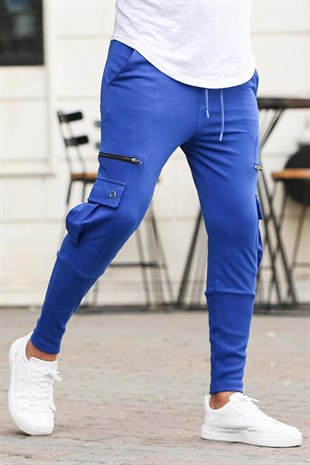 Mens Sweatpants With Zipper Pocket İn Saks 2937