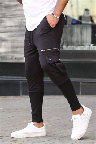 Mens Sweatpants With Zipper Pocket İn Black 2937