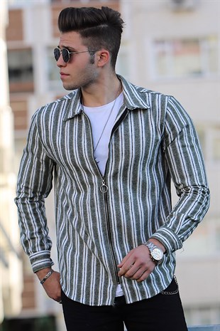 Madmext Khaki Striped,Zipper Detailed Slim Fit Shirt 9029