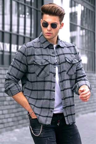 Madmext Gray Checkered Men Shirt 9404
