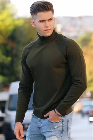 Madmext Khaki Turtleneck Jumper 4410