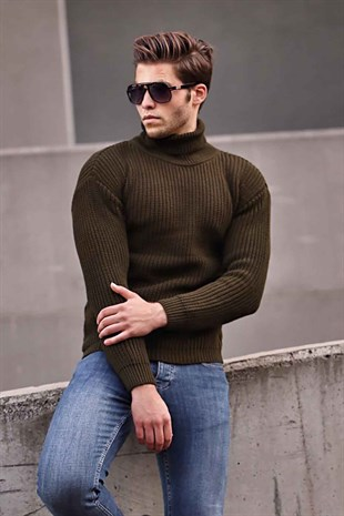 Madmext Khaki Turtleneck Jumper 4368