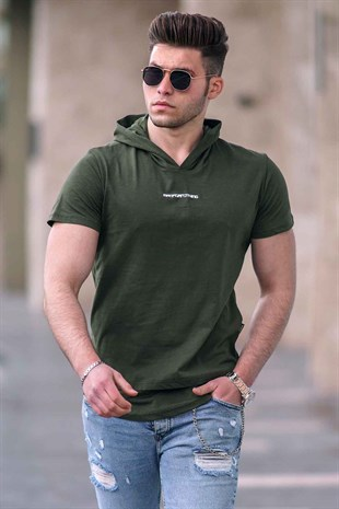 Madmext Khaki T-shirt With Hood for Men 4460