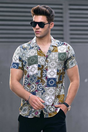 Madmext Khaki Patterned Shirt 9313