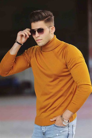 Madmext Mustard Turtleneck Jumper 4418