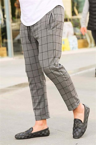 Madmext Dark Grey Checked Trousers 4062