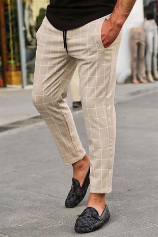 Madmext Camel Checked Trouser 4062