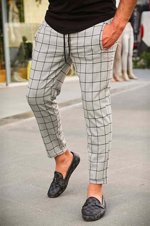 Madmext Grey Checked Trouser 4062