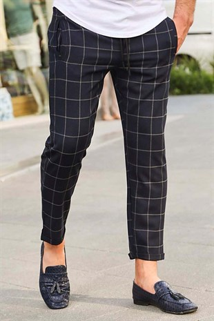 Madmext Navy Blue Checked Trousers 4062